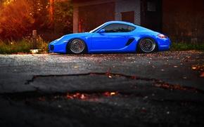 Картинка car, тюнинг, порш, blue, tuning, stance, porsche cayman