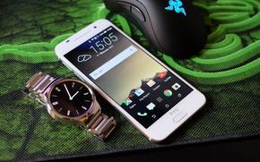 Картинка белый, мышь, коврик, razer, HTC, Смартфон, One A9, умные часы
