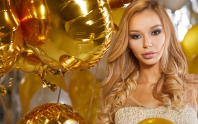 Картинка golden, sexy, party, Blonde, look, balloons