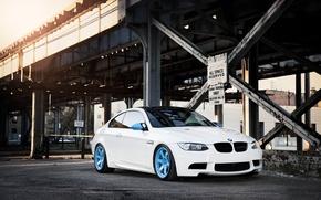 Обои белый, мост, город, бмв, BMW, white, E92, IND