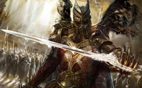 Картинка магия, меч, доспехи, воин, Демон