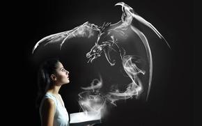 Картинка девушка, дракон, книга