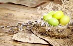 Картинка яйца, Пасха, гнездо, верба, flowers, spring, Easter, eggs