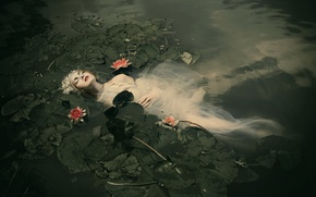Картинка девушка, в воде, Ophelia