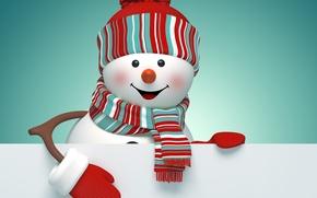Картинка снеговик, Новый Год, Merry, Рождество, New Year, Christmas, cute, snowman, decoration