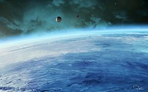 Обои космос, планета, атмосфера, спутники