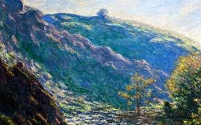 Обои Клод Моне, картина, The Old Tree. Sunlight on the Petit Cruese, пейзаж
