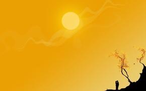 Картинка солнце, вектор, Желтый, пара