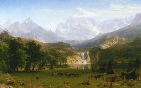 Обои пейзаж, картина, Альберт Бирштадт, Скалистые горы. Пик Лендера
