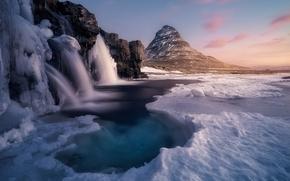 Картинка лед, зима, природа, река, гора, водопад