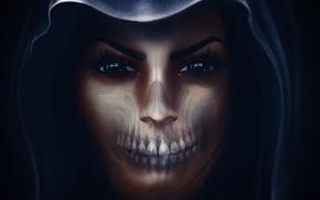 Обои череп, капюшон, девушка, лицо
