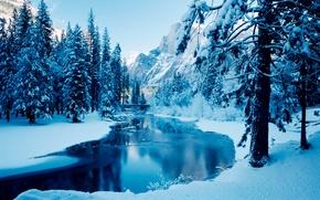 Обои деревья, горы, река, лёд, зима