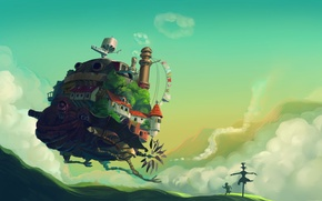 Картинка трава, холмы, мальчик, арт, хаяо миядзаки, пугало, Ходячий замок Хаула, Howl's Moving Castle