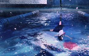 Картинка вода, девушка, отражение, дождь, зонт, лепестки, сакура, школьная форма