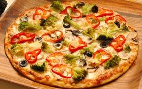 Картинка зелень, пища, пицца, оливки, food, pizza, вкусно, маслины, болгарский перец, delicious, еди, сытно