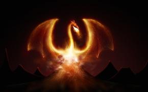Картинка фентези, огонь, дракон, вулкан