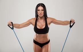 Обои fitness, elastic bands, brunette, back exercises