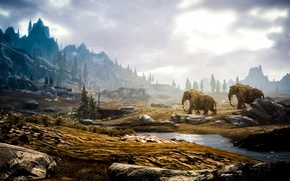 Картинка лес, мамонт, skyrim