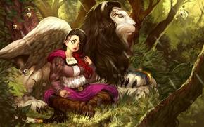 Картинка лес, девушка, лев, арт