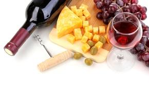 Обои виноград, Wine, сыр, вино, Grapes, доска, оливки, Cheese