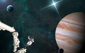 Картинка вселенная, космонавт, Юпитер, астронавт, спутник, звезды, космос