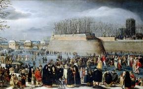 Картинка зима, пейзаж, люди, картина, Денис Ван Альслот, Ледовый Карнавал в Антверпене