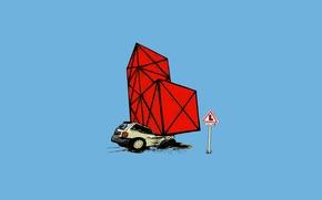 Картинка машина, авария, игра, масло, минимализм, дорожный знак, тетрис, ограничение, дтп, внезапно, геометрическая фигура