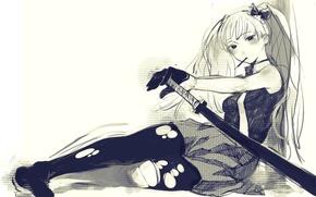 Обои art, sugimoto gang, девушка, катана, аниме