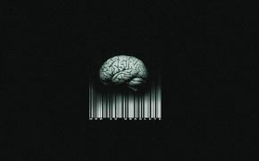 Картинка штрих-код, мозг, черный фон, man is obsolete