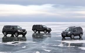 Картинка небо, снег, озеро, лёд, Байкал, джип, Ниссан, внедорожник, Nissan, Pathfinder, кроссовер, Patrol, X-Trail, Патрол, Икс-Треил, ...