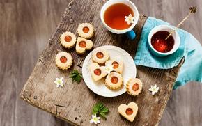 Обои цветы, flowers, food, сердце, сладкое, drink, печенье, cookies, пить, cup, чай, чашка, sweet, еда, colorful, ...