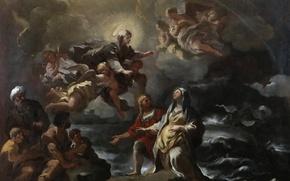 Картинка картина, мифология, Лука Джордано, Богородица Спасает Святую Бригитту во Время Кораблекрушения