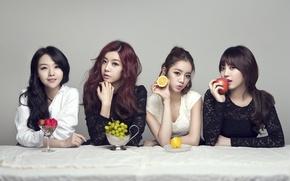 Обои музыка, девушки, еда, фрукты, азиатки, Южная Корея, певицы, Girls Day, K-pop
