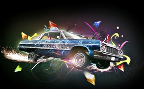 Картинка машина, авто, граффити, искра, разноцветные