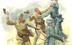 Картинка рисунок, арт, Победа, немецкие, советские, Великая отечественная война, рукопашный бой, АндрейКаращук, пехотинцы