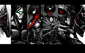Картинка fan art, вторжение гигантов, Shingeki no Kyojin, Mikasa Ackerman, Annie Leonhart, Levi, Eren Yeager, attack …