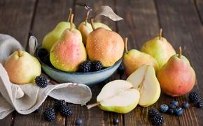 Обои капли, капельки, ягоды, черника, тарелка, фрукты, натюрморт, груши, ежевика, Anna Verdina