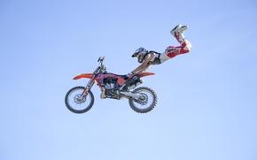 Обои небо, маневр, всадник, мотокросс, фристайл, FMX, экстремальный спорт, Superman Double Seat Grab