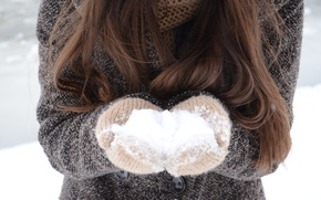 Картинка зима, белый, снег, волосы