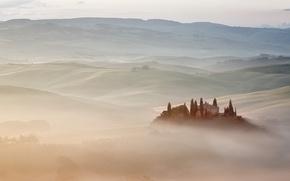 Картинка Italy, Tuscany, Fog vs. Mist, Belvedere Villa