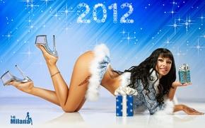 Картинка новый год, брюнетка, снегурочка, 2012, t-dj milana