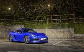 Картинка porsche, blue, night, cayman, GT4