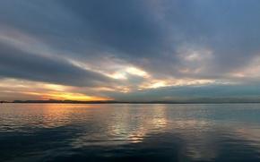 Обои Закат, Вода, Облака, горизонт
