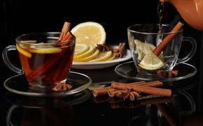 Картинка чайник, лимон, чай, чашки, корица