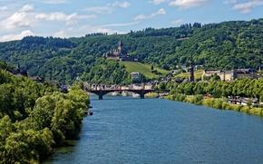 Картинка гора, мост, теплоходы, дома, Германия, берег, деревья, Reichsburg, замок, Cochem, река