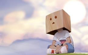 Обои рисунок, коробка, мальчик