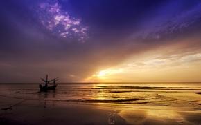 Картинка море, пейзаж, закат, лодка