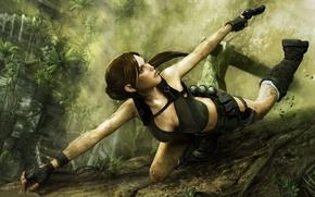 Картинка пистолет, джунгли, Лара Крофт