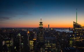 Картинка небо, Нью-Йорк, сумерки, Манхэттен, Эмпайр-стейт-билдинг, One World Trade Center, Соединенные Штаты, 1WTC, OWTC