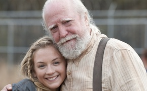 Картинка актёры, улыбки, The Walking Dead, Emily Kinney, Scott Wilson